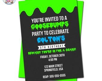 Goosebumps Invitation, Goosebumps Party, Editable Goosebumps Invitation, Goosebumps Birthday Party Invitation