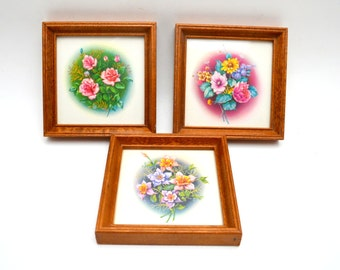 Trio of Vintage Floral Prints, Small Framed Flower Prints, Shabby Chic Decor