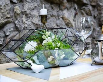 Glass Terrarium Large Rocket Wedding box Stained glass Orchid terrarium Glass decoration Indoor gardening Geometric terrarium