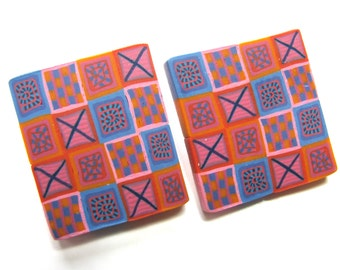 Earrings, Polymer clay, post earrings, 1 and 1 half inch, square earrings, blue, orange, pink, vintage earrings B-1324