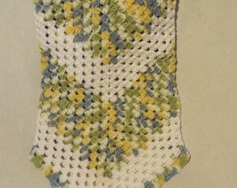 Blue and Green variegated with White Baby Blanket
