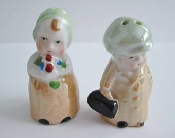 Vintage Lusterware Germany Mini Salt And Pepper Shakers/Boy And Girl Germany Salt And Pepper Set