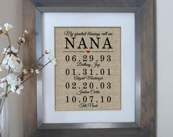 Mothers Day Gift for Grandma Gift for NANA Mothers Day from Daughter Personalized Nana Gift Mother of the Bride Gift Mothers Day Nana Gift