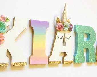 Unicorn Themed Letters - Home Decor - Party Decorations - Wood letters - Custom Letters