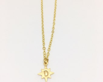 24k Gold Plated North Star Charm - Hand Stamped Initial Necklace