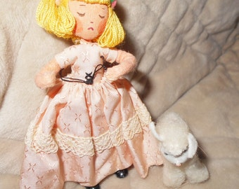Vintage BAPS Doll Little Bo Peep with Lamb - Sheep  - Germany