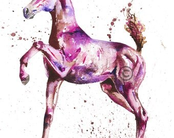 Original watercolour colourful horse foal painting splash original A4 or prints up to EXTRA LARGE A1
