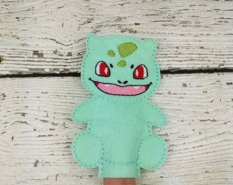 Bulb Felt Finger Puppet - Pretend Play - Party Favors - Birthday - Pokemon - Travel Toy - Quiet Game - Quiet Play