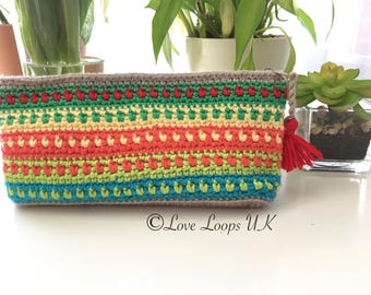 Crochet case, Small Clutch bag, crochet clutch bag, multi colour clutch bag, crochet pencil case, small bag crochet pouch, zipper clutch