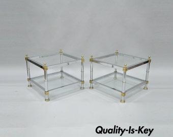 Pair Of Vtg Hollywood Regency Chrome Brass Glass Square End Tables Maison Jansen