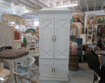 Newly Lacquered Fretwork Pagoda Cabinet Palm Beach Regency