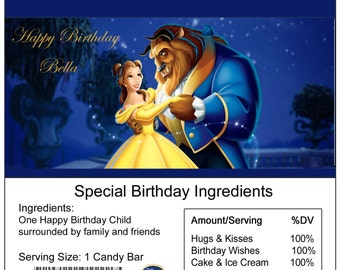 Beauty & the Beast birthday Candy Bar Wrapper