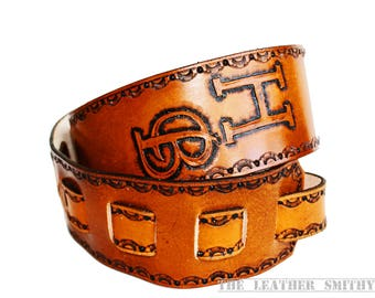 Tan Personalized Leather Guitar Strap, Hand Tooled Leather Guitar Strap, Monogram Strap, Custom Guitar Strap, Personalized Guitar Strap