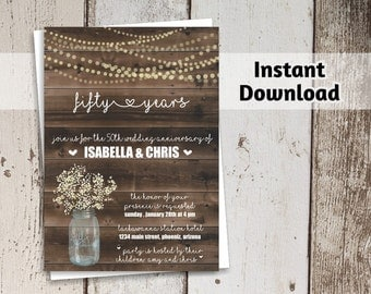 Wedding Anniversary Invitation - Rustic Printable Party Template Mason Jar, Wood - Instant Download - 5th 10th 20th 25th 30th 40th 50th 60th