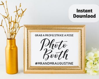 Printable Photo Booth Sign Template Download - Grab a Prop & Strike a Pose - Instagram Hashtag Personalized Print - Wedding / Shower / Party