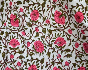 Indian fabric Block Printed Cotton Fabric - Soft Cotton Fabric by the yard - Hand Printed Fabric in Pink Green on white Summer dress fabric