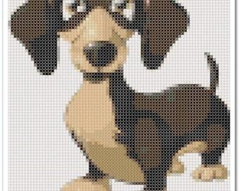 Dachshund Cross Stitch Pattern, Dachshund x stitch pattern, colorfull Cross stitch Embroidery, Embroidery pattern