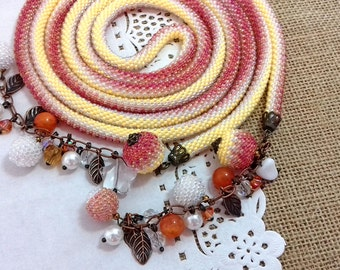 Beading Lariat Necklace Crocet beads Rope jewelry Bicolor lariat lariat crocheted