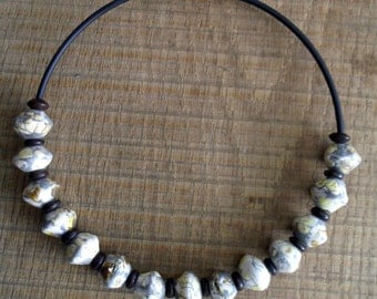 Necklace pearls white silver silver necklace prles rollers ceramic raku raku
