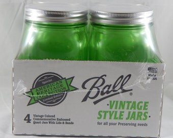Limited Edition Green Quart Mason Jars - 4 Pack
