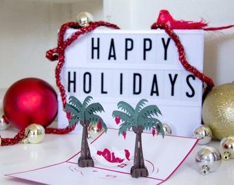 Santa Hammock Pop Up Card, Santa on Vacation Pop Up Card, Christmas Pop Up Card, Merry Christmas Greeting Card