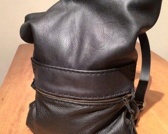 Leather Duffel Backpack