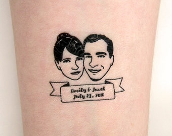 Couple portrait tattoo / Custom Temporary Tattoos / Wedding / Bride gift / Wedding favors for guest / Personalized gift / Wedding tattoo