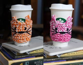 Vegan Crochet Custom Cat Coffee Cozy // To Go Coffee Cup Cover // Coffee Cup Sleeve // Cat Lover Gift // Coffee Lover Gift