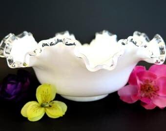 Vintage Fenton Silver Crest Milk Glass Bowl Crimped Edge