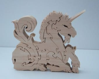 Wooden Unicorn in White Maple