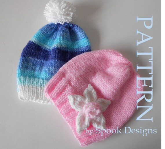 Easy Baby Beanie with knitted Flower
