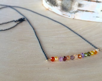 Multi-stone necklace. Simple mecklace.