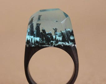 Wood Resin Ring, Great Gift for Her, Size 6.5 (17mm) / in Stock (17005)