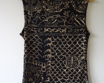 1990's Black Sheer Patterned vintage Tank Top