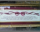 RESERVED FOR ANGIE  Vintage Framed Love Print, Ribbon and Lace, Speckled Gold Wood Frame, Burgandy Mat, Circa 1995