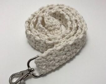 Off White Crochet Lanyard, Crochet Lanyard, Handmade Cotton Lanyard, Gift for Her, Teacher Gift, ID Holder, Keys, Crochet Key Holder