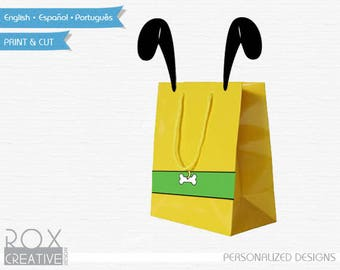 Pluto Party Favors Bags Design,  Printable Mickey Design, Digital - Customized