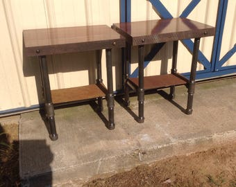 One Of A Kind Set Of Custom Made Thick WALNUT Wood End Tables/Nightstands  Industrial