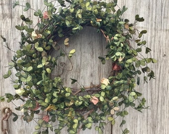 Boxwood Wreath, Summer Wreath, Shabby Chic Wreath, Primitive Wreath, Rustic Wreath, Artificial Boxwood Wreath, Boxwood Garland, Free Ship