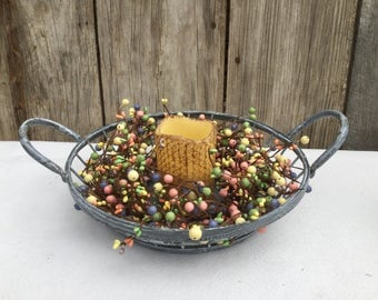 Wire Tray with Pip Berries and Pillar Candle-Weathered Zinc Tray Centerpiece-Easter Decor-Spring Centerpiece-Spring Floral-Free Shipping