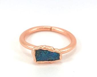 Raw Stone Ring, Peacock Ore Ring, Raw Crystal, Electroformed Ring, Copper Ring, Chalcopyrite, Blue Gemstone, Stacking Ring, Healing