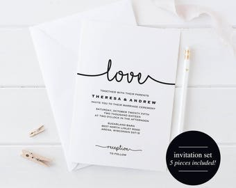 Wedding Invitation Printable, Wedding Invitation Set, Wedding Invitation Download, Wedding Invitation PDF, PDF Instant Download #BPB279_1