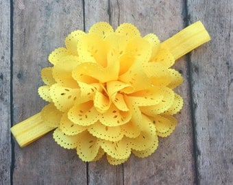 Yellow Flower Headband - Yellow Eyelet Flower Hair Clip - Elastic Headband - Yellow Headband - Yellow baby Headband - Newborn girl - Yellow
