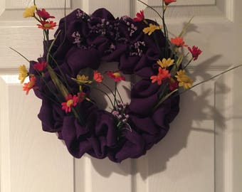 Purple Burlap Spring Wreath
