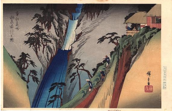 "Japanese Ukiyoe, Woodblock print, Hiroshige, ""The Nunobiki Waterfall in Settsu Province"""