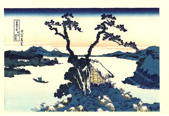 "Japanese Ukiyo-e Woodblock print, Katsushika Hokusai, ""Lake Suwa in Shinano Province, Thirty-six Views of Mount Fuji"""