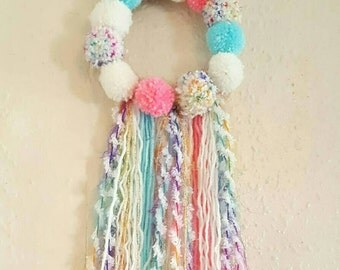 Custom pom pom dreamcatcher/ wall hanging / home or nursery decor