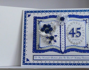 45th/65th Sapphire Wedding Anniversary Card for Wife/Husband/Mum & Dad/Nan Grandad etc Large Handmade Personalised