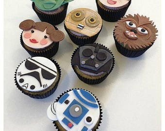 Edible Star Wars Fondant Cupcake Toppers. Food Picks. Star Wars Party. Star  Wars