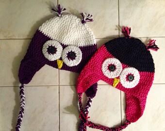 Custom-made owl earflap braid beanie